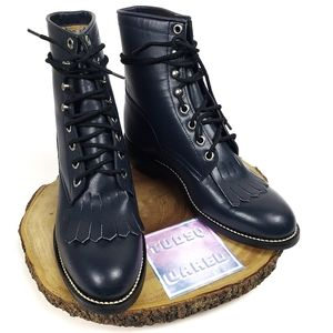 JUSTIN Roper Kilted Lace Up Leather Boots
